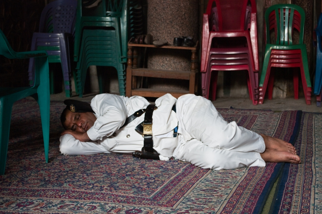 Sleeping, policeman,mosque,cairo,photogrpahy