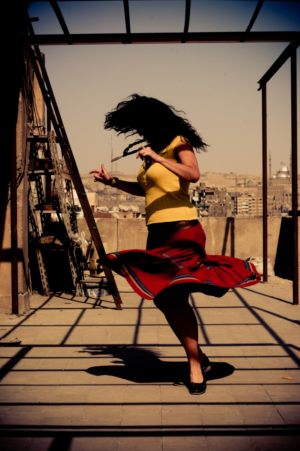 Whirling dervish,photography,Cairo,Girl,Spin,rooftop,dress,evening