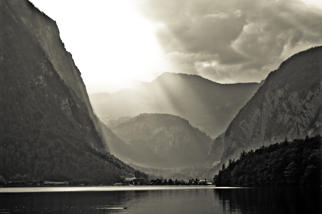 mountain lake,Austria, Hallstatt, Light, clouds